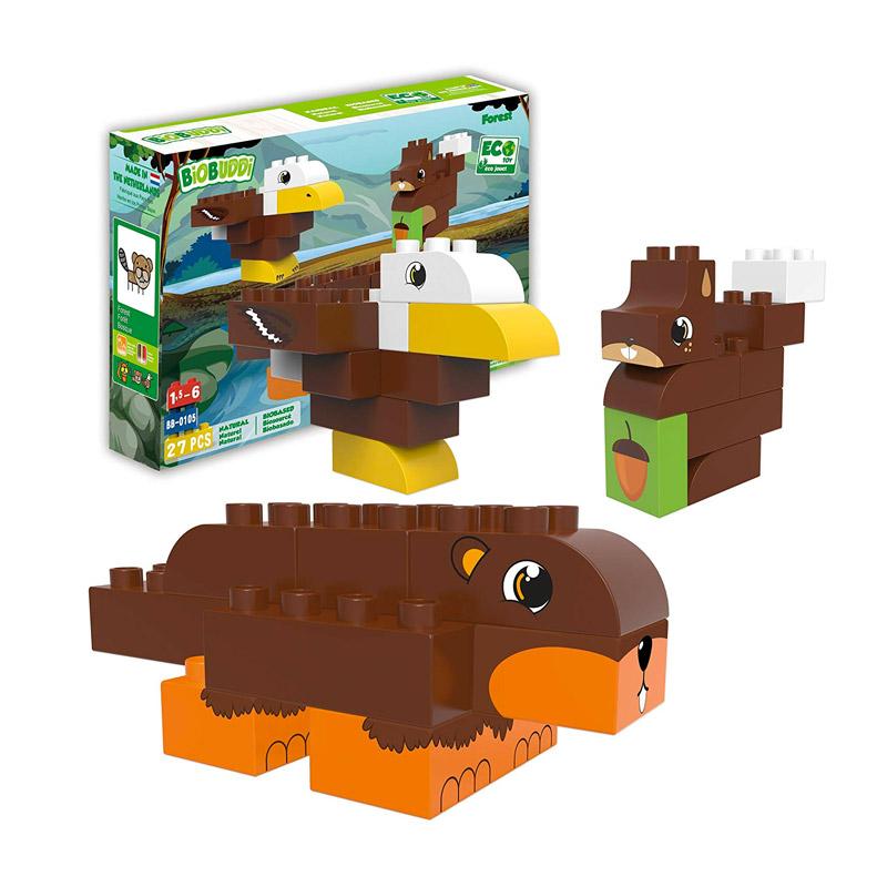 Bloques Bosque 27 piezas: Águila, Ardilla y Castor