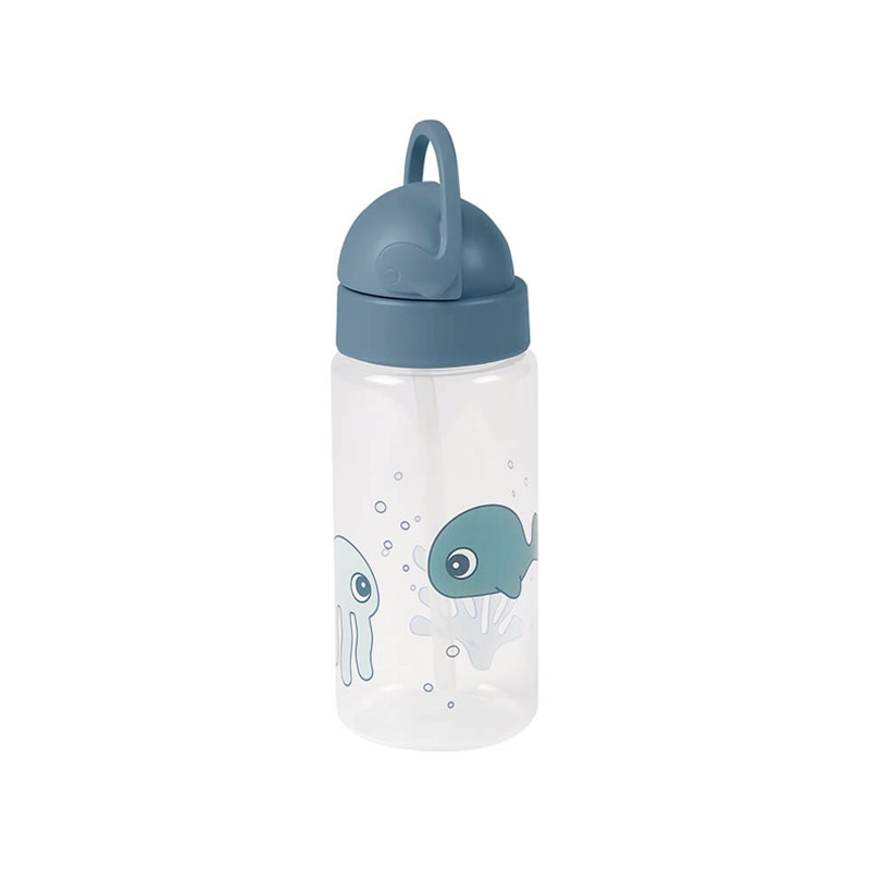 Botella con Pajita Sea Friends Azul