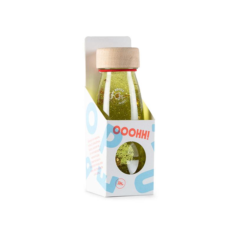 Botella Sensorial Flotante Dorada