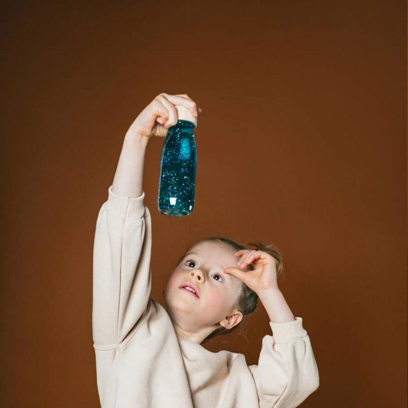 Botella Sensorial Flotante Turquesa