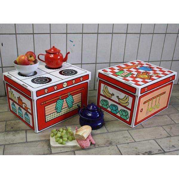 Cajas de cart n para pintar cocina de villa cart n en minikidz for Cajas de carton infantiles