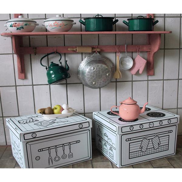 Cajas de cart n para pintar cocina de villa cart n en minikidz for Cocina de carton