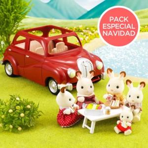 Pack Coche Rojo con Familia