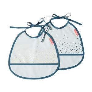 Pack de 2 Baberos Pequeños: Happy Dots Azul