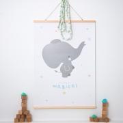 Póster Elefante Gris