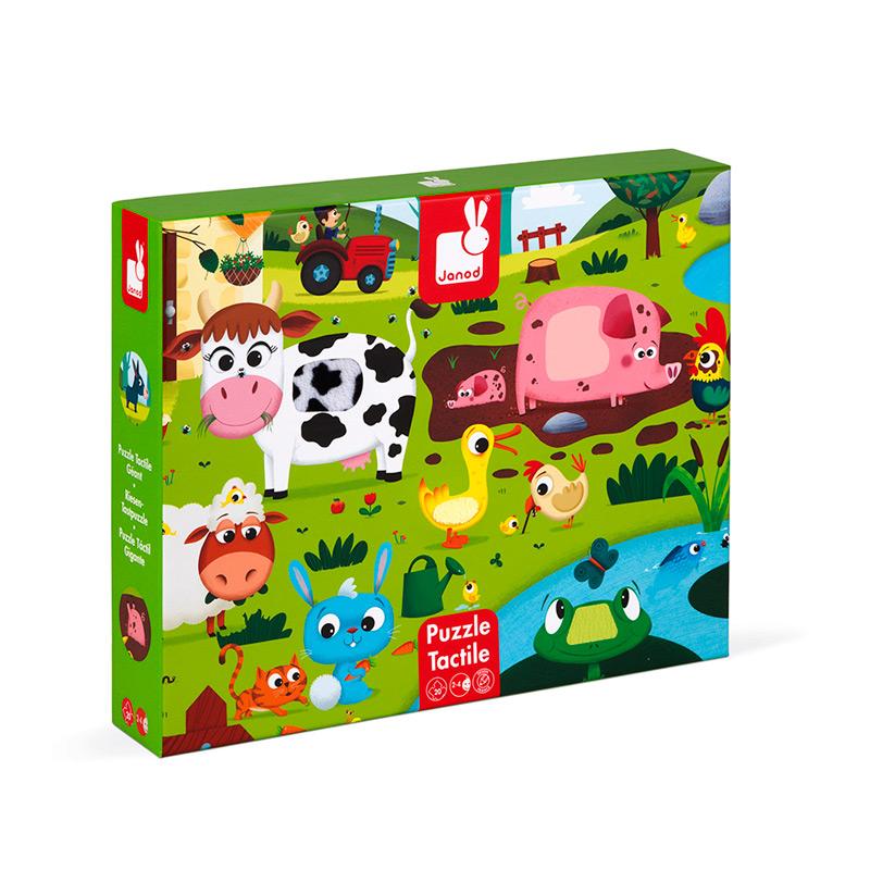 Puzzle Táctil Gigante Animales de la Granja: 20 piezas
