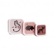 Set de 3 Fiambreras Black Animals Rosa