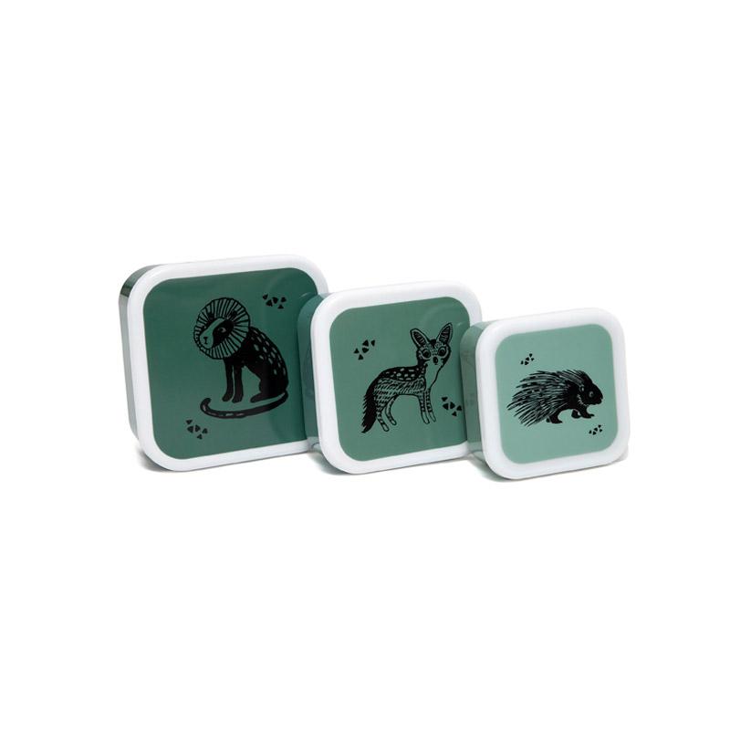 Set de 3 Fiambreras Black Animals Verde